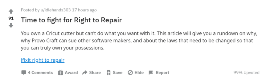 Cricut user calls for Right to Repair on Reddit